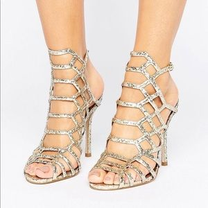 Gold glitter caged sandals